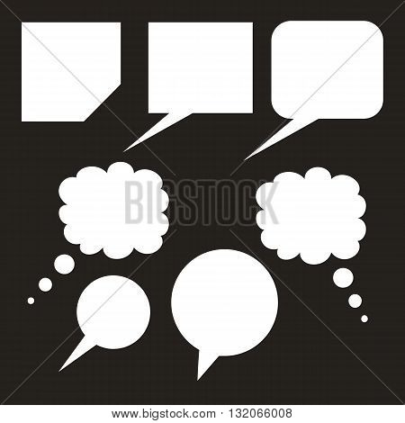 Blank empty white speech bubbles on black background
