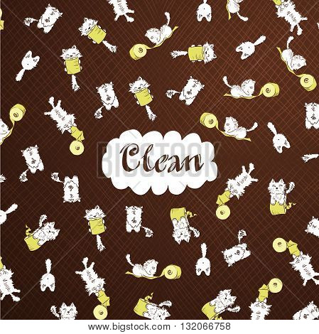 Cute white kittens playing with toilet paper roll pattern brown template. CLEAN text name brand label