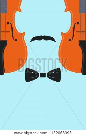Advertising card with violin in human form with mustache and tie, vector illustration