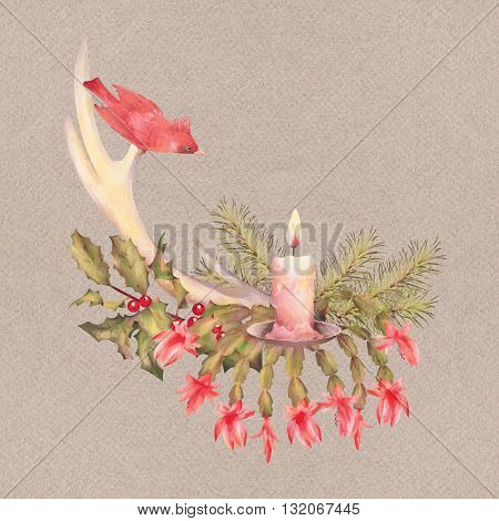 Merry Christmas Watercolor Drawing. Holiday Composition of the Christmas decorations with  deer horns, candle, bird