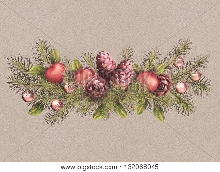 Christmas holiday watercolor tree branch garland with cones and decoration