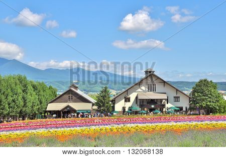 Hokkaido, Japan - July 23, 2013: The rainbow flower field with two houses on July 23, 2013 in Tomita farm, Hokkaido, Japan.
