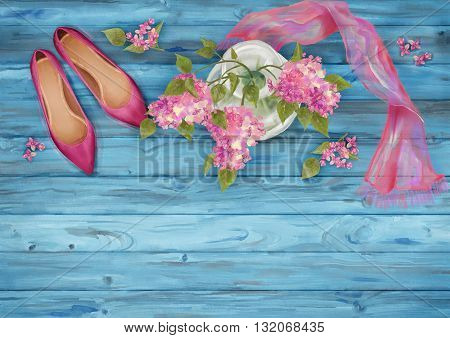 Spring watercolor top view composition. Shoes, silk scarf and branch of lilac on wooden background