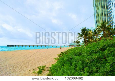 Sandy beach with a pier surrounded by tropical plants and highrise buildings taken at Sunny Isles in Miami Dade, FL