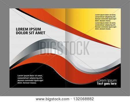Colorful Bi-Fold Brochure Design. Corporate Leaflet, Cover Template