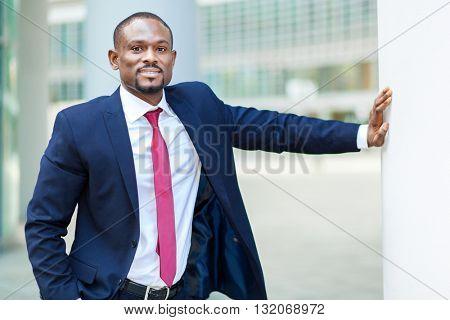 Confident black businessman outdoor