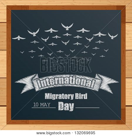 Vector illustration of Migratory birds mechanism with ribbon and flying birds written by chalk on blackboard