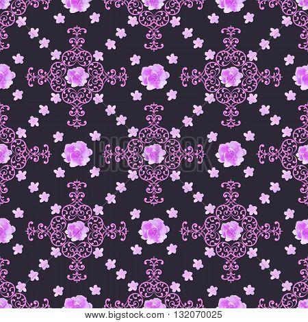 Seamless floral background. Isolated lilac roses flowers and lace ornament. Vector illustration.