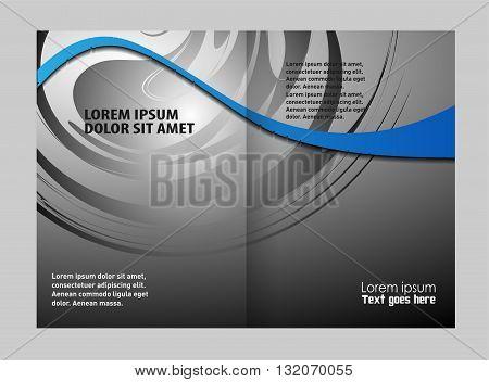 Blue brochure template. Blue bi-fold brochure template design, business leaflet, booklet