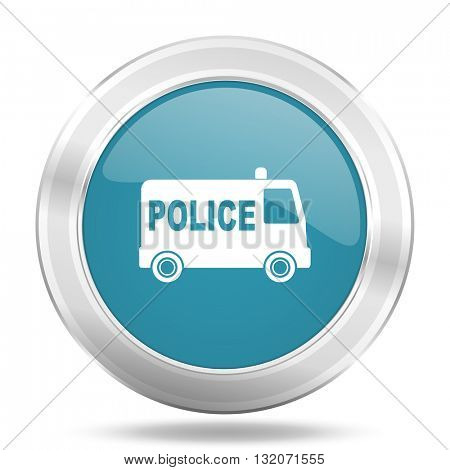police icon, blue round metallic glossy button, web and mobile app design illustration