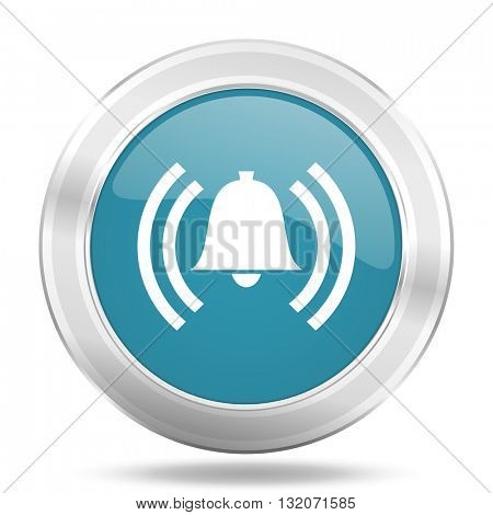 alarm icon, blue round metallic glossy button, web and mobile app design illustration