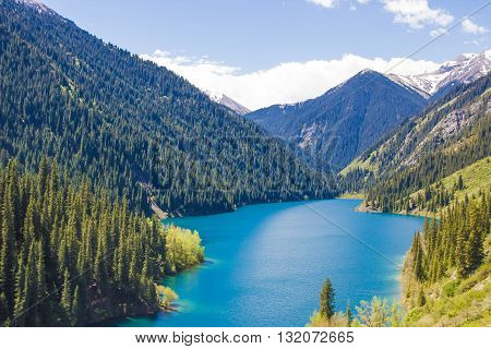 Kolsay lake in Tien-Shan mountains Kazakhstan springtime