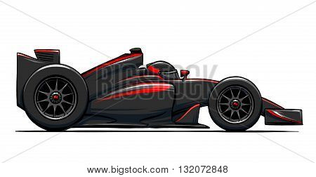 child's funny cartoon race car illustration