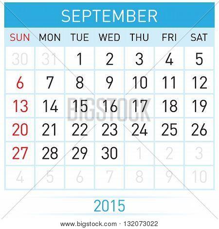 Monthly calendar template for September of year Twenty Fifteen