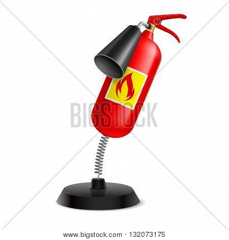Souvenir at the spring in form extinguisher on the white background