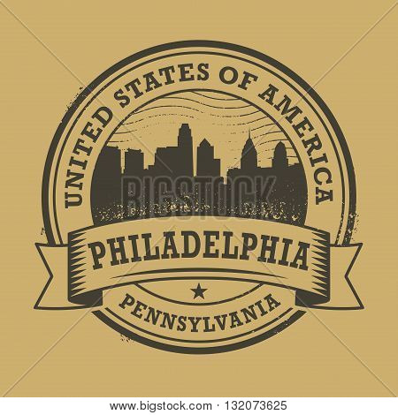 Grunge rubber stamp or label with name of Pennsylvania, Philadelphia, vector illustration