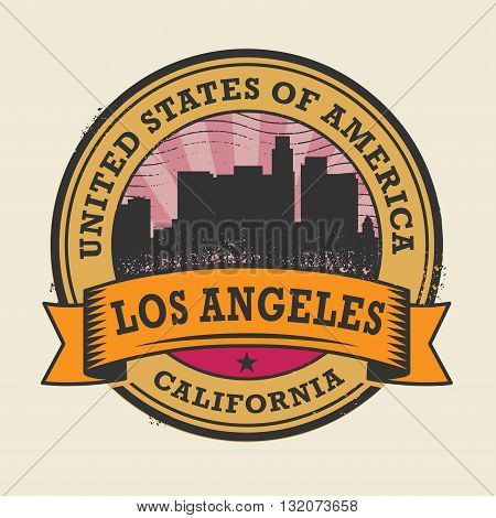 Grunge rubber stamp or label with name of California, Los Angeles, vector illustration
