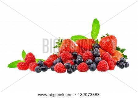 Strawberry and mix berry on white background with clipping path