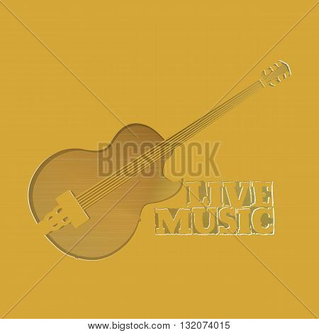 Vector illustration of the plane with a hole in the form of jazz guitar with the inscription live music and a gold background.