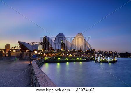 SYDNEY AUSTRALIA - August, 5, 2016 : Sunset at Sydney Opera House Sydney Australia Over 10 millions tourists visit Sydney every year