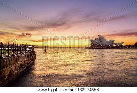 SYDNEY AUSTRALIA - August, 5, 2016 : Sunrise at Sydney Opera House Sydney Australia Over 10 millions tourists visit Sydney every year