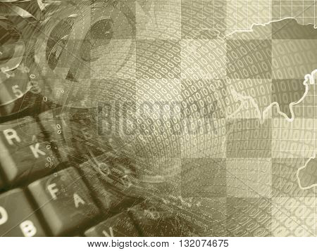 Digits and map - abstract computer background in sepia.