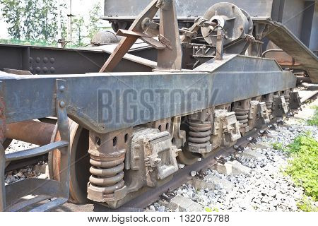 Outdoor Exhibition Of Old Trains Chassis Close-up