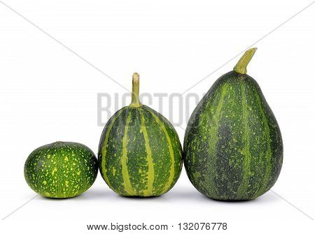 Green pumpkin isolated on a white background