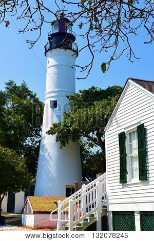 Historic Key West Lighthouse and the lighthouse Keepers Home taken in Key West, FL