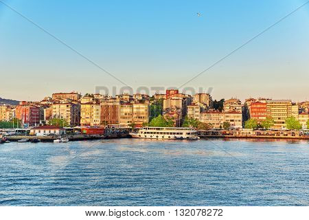 Istambul, Turkey- May 07, 2016: View Of The Apartament House From The Ferry In Istanbul. Turkey.