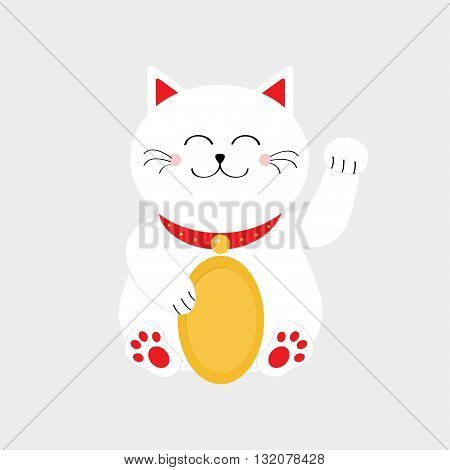 Lucky white cat sitting and holding golden coin. Japanese Maneki Neco cat waving hand paw icon. Feng shui Success wealth symbol mascot Cute cartoon character Greeting card Flat White background Vector
