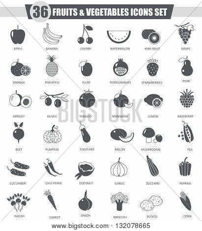 Vector Fruits and vegetables black icon set. Dark grey classic icon design for web