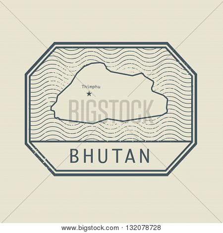 Stamp with the name and map of Bhutan, vector illustration