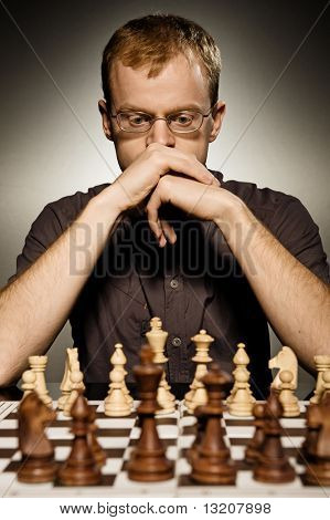 Thoughtful chess master