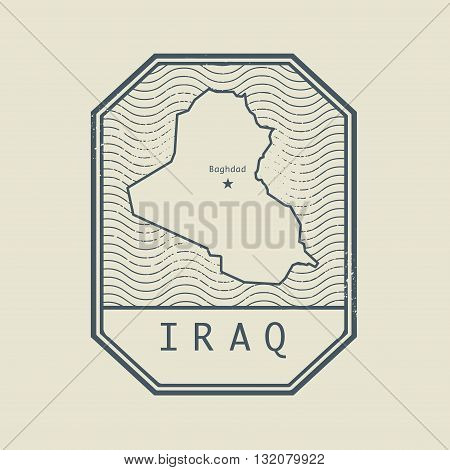 Stamp with the name and map of Iraq, vector illustration