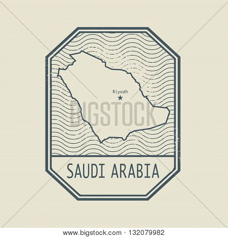 Stamp with the name and map of Saudi Arabia, vector illustration
