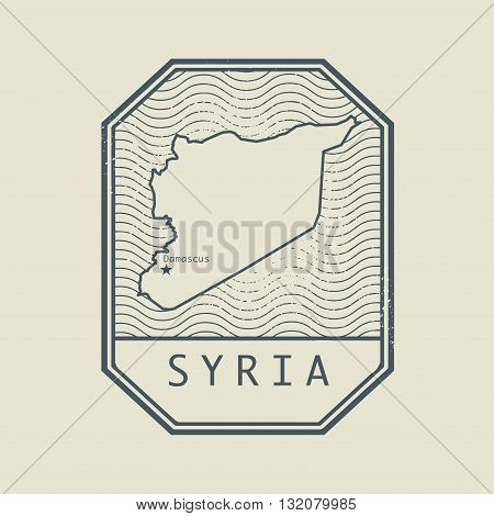 Stamp with the name and map of Syria, vector illustration