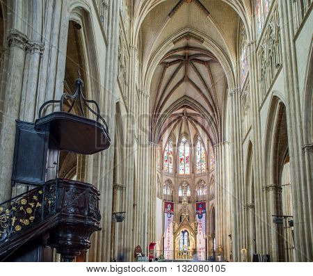 Bayonne France - May 21 2016: Apse and pulpit in nave of Cathedral of Sainte-Marie de Bayonne Cathedral. Bayonne Aquitaine. France