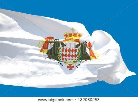 Blason de Monaco wave flag HD Principality of Monaco