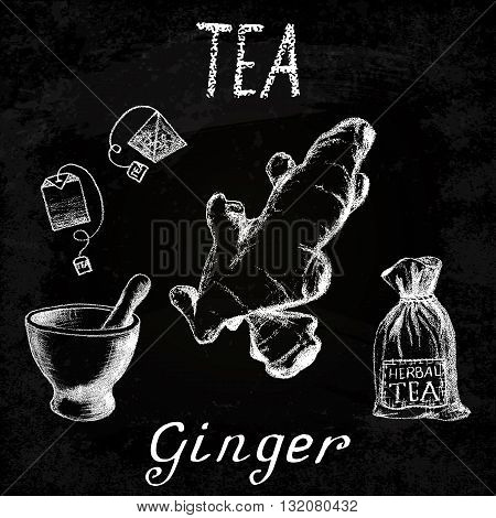 Ginger herbal tea. Chalk board set of vector elements on the basis hand pencil drawings. Ginger root tea bag mortar and pestle textile bag. For labeling packaging printed products