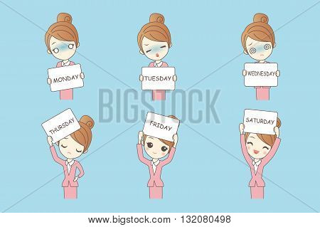Cartoon young business beauty woman hold billboard with day of week and face expression
