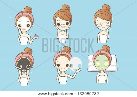 cartoon woman care her face with mask facial beauty