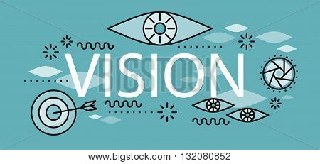 Business vision banner concept. Conceptual abstract poster on the theme of vision and business goal of hitting the target in a flat style design. Banner with element and text. Vector illustration