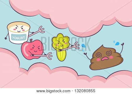 Cute cartoon yogurt apple fruit and vegetable with poop in the intestine - great for health care concept