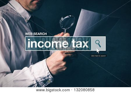 Web search bar glossary term - income tax definition in internet glossary.