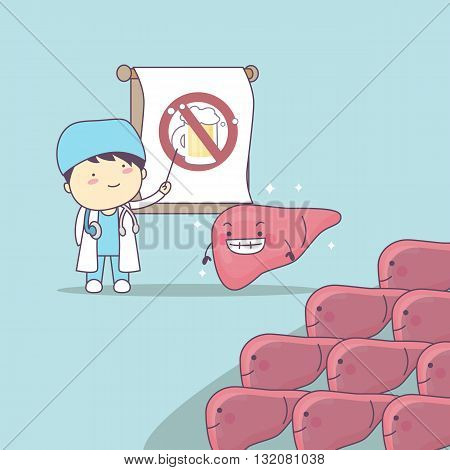 cartoon doctor teach liver to be health great for health care concept