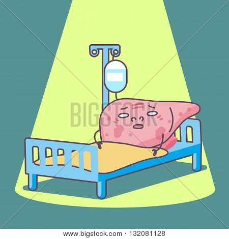 cartoon sick liver lying with sickbed great for health care concept