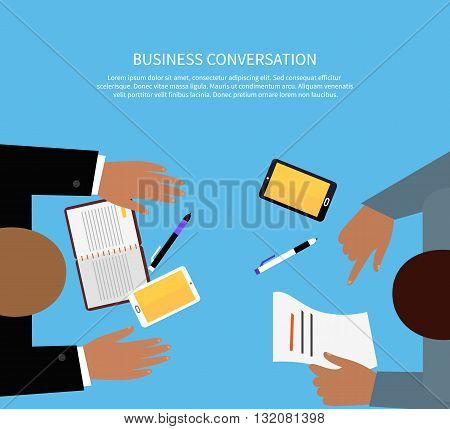 Business conversation work space meeting design flat. Business conference and work, space and corporate, table and people, coworking and workplace, collaboration employee, vector illustration