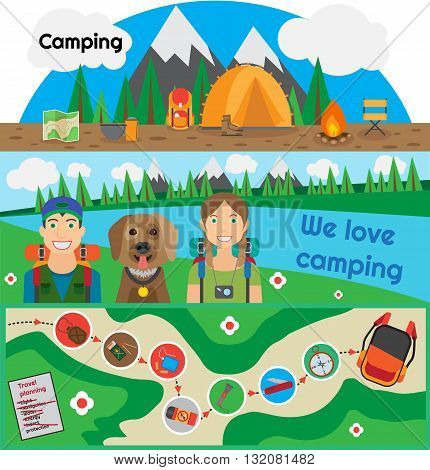 Camping banner people with dog design flat. Active recreation tent camp fire, mountain and hiking. Couple with their pet travel is planning to by collecting items in a backpack. Vector illustration