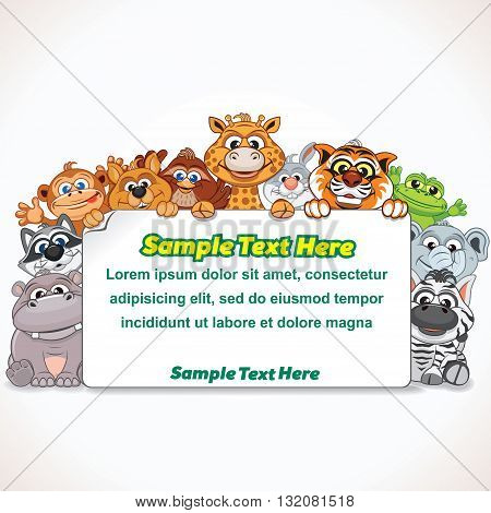 Cartoon Zoo Animal Sign. Cartoon Farm Animals. Ready for Your Text and Design.
